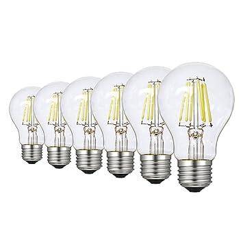 RANBOO Bombilla LED Esférica E27 con Filamento, 6W (equivalente a 60W), Blanco Frío 6500K, 600LM, Estilo Vintage - 6 unidades: Amazon.es: Bricolaje y ...