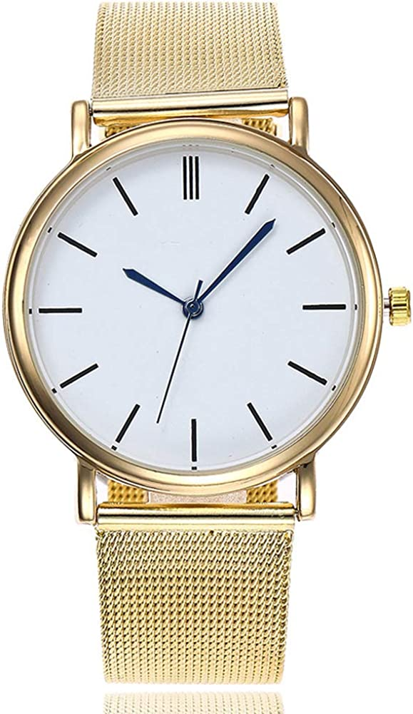 ACC Geneva Net with Gold Silver Reloj para Hombres y Mujeres Contracted Ultra-Thin Quartz Watch Gold