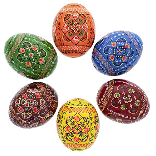 BestPysanky Set of 6 Hand Painted Wooden Ukrainian Easter Eggs 2.5 Inches ()