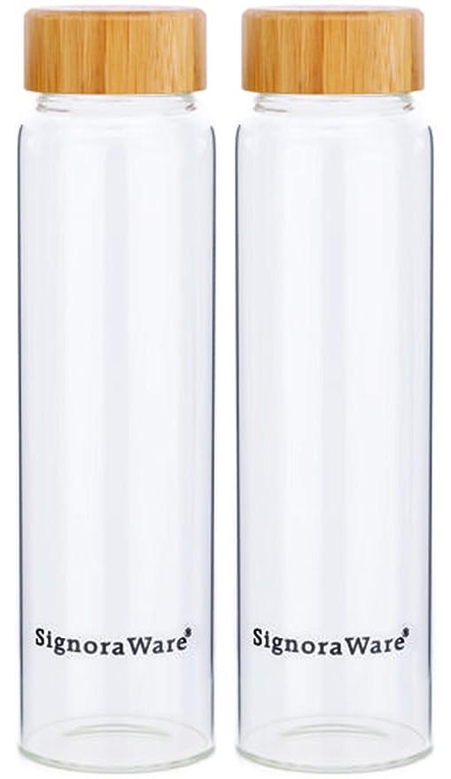 Signoraware Bamboo 500ml and bamboo 500ml (Combo Borosilicate Glass), 500ml+500ml, Set of 2, Clear