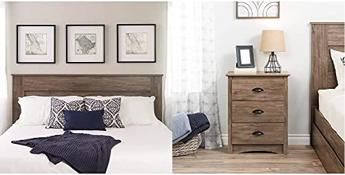 Prepac Select King Flat Panel Headboard Drifted Gray Salt Spring 3-Drawer Tall Nightstand