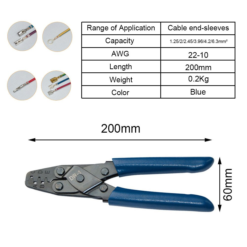HAPDUX DR-1 Crimping Pliers For Amp, Tyco, Deutsch Conectors,Terminals,Molex, Delphi, Harley, PC/Computer,for AWG22-10 Connector Female Terminal Tool by HAPDUX (Image #6)