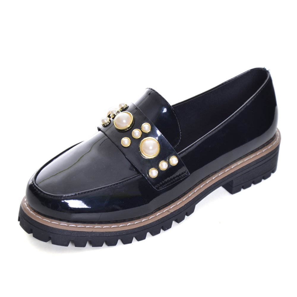 Women Oxfords Fashion Patent Leather Oxfords Shoes Casual Slip-On Low Heel Shoes Low Top Oxfords