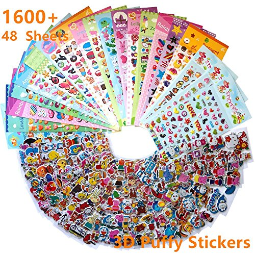 - Kid Stickers 1600+, 48 Different Sheets, 3D Puffy Stickers Children, Bulk Stickers Girl Boy Gift, Scrapbooking, Teachers, Toddlers, Including Animals, Stars, Flower,Fruit ,Cartoon More