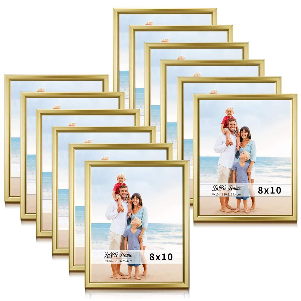 LaVie Home 8x10 Picture Frames (12 Pack, Gold) Simple Designed Photo Frame with High Definition Glass for Wall Mount & Table Top Display, Set of 12 Classic Collection