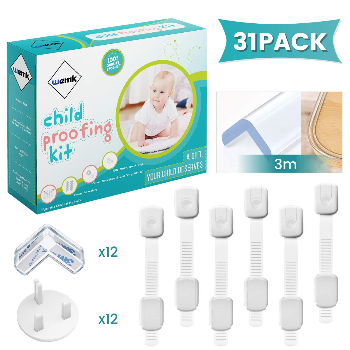 Wemk Baby Proofing Kit, 31Pcs Child Safety Kit Including 3m/9.8ft Safety Edge Guard, 6 Pcs Adjustable Child Safety Locks, 12Pcs Child Safety Plug Covers, 12Pcs Corner Guards, Pack with Gift Box