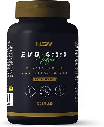 BCAA Evo 4:1:1 de HSN   Aminoácidos Ramificados con Ratio 4:1:1 (Leucina, Valina, Isoleucina) + Vitamina B6 y B12   Vegano, Sin Gluten, Sin Lactosa, ...