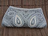 Vintage Style Indian Beaded Sequin Grey Pearl Silver Handmade Evening Clutch Handbag Valentine's Gift for Lady Love