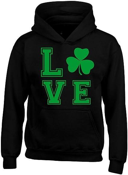 St.Patricks I Love Beer Hoodie GREEN Irish Drinking Lucky Shamrock College