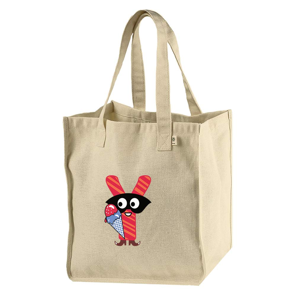 Y In Boots Letter Alphabet Hemp/Cotton Canvas Market Bag Tote