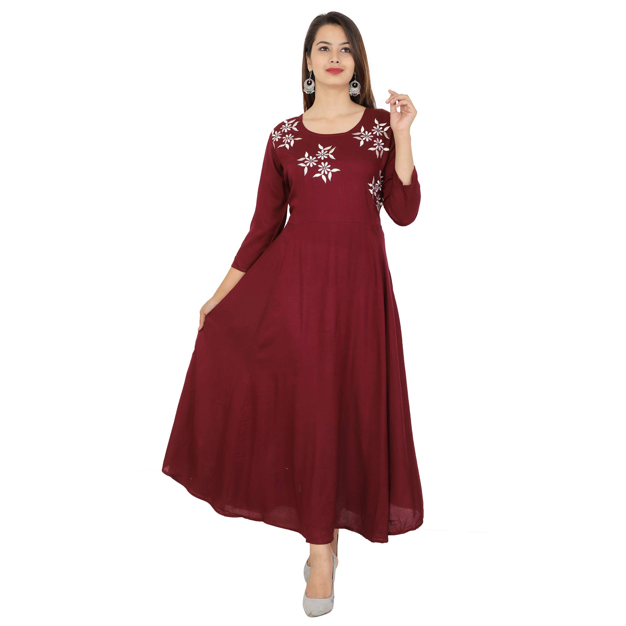 Cottonwalas Women's Rayon Embroidered Ankle Length Anarkali Kurti (Maroon) product image