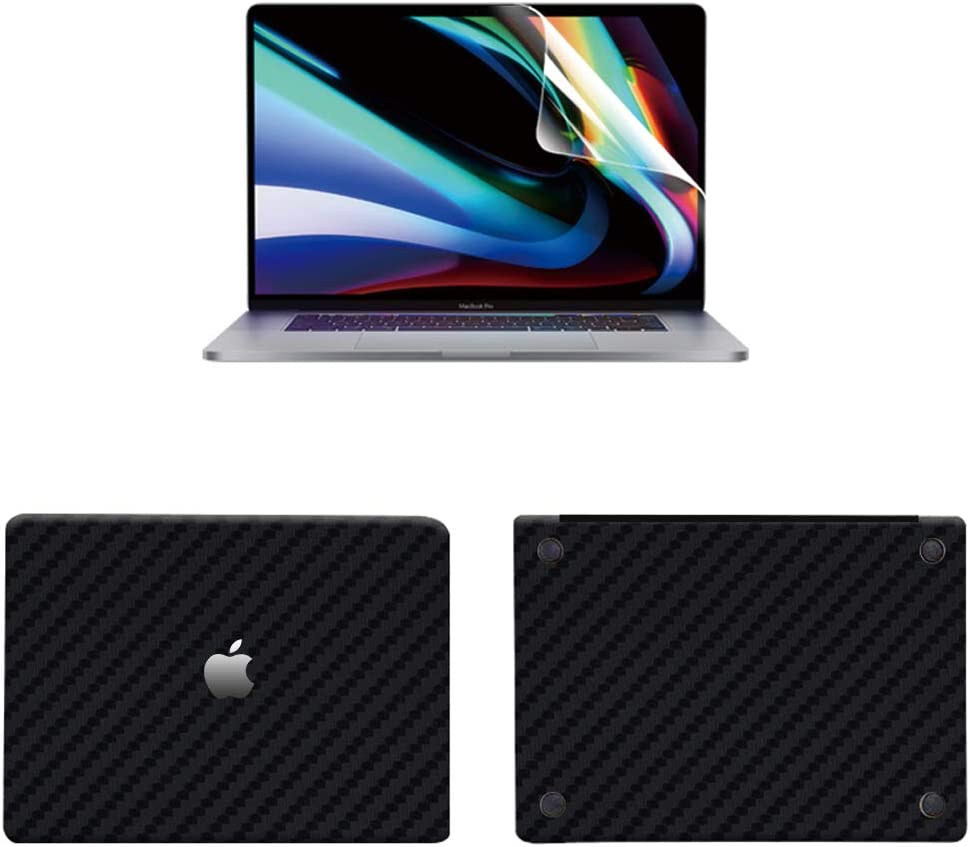 3M Microbead Positioning tecknology Protector Stickers, Premium 3 in 1 Full Size 3M Decals Skins Covers for MacBook Pro 13.3 Inch with High Clear Screen Protector (pro 13.3, Carbon Fiber Black)
