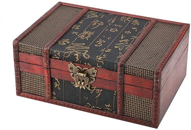 Caja de Madera Vintage, Cofre del Tesoro Pirata de Estilo Vintage, Caja del Tesoro, Libro de Gran tamaño para Guardar Joyas, colección de Tarjetas, Regalos y decoración del hogar(#1): Amazon.es: Hogar
