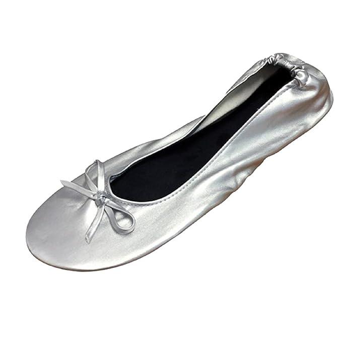 FANCY SHOE LAND - Bailarinas de Material Sintético para Mujer Plateado Plateado Plateado Plata Talla:37-38 EU/M: Amazon.es: Deportes y aire libre