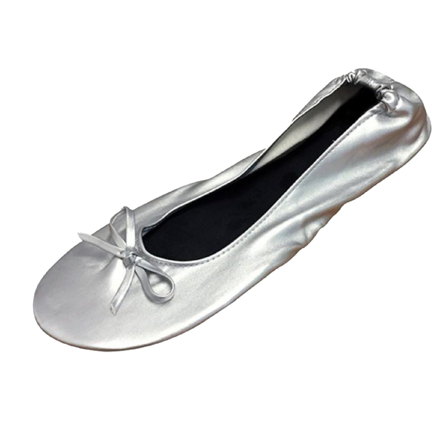 Women's Ballet Flats - Foldable Flats WITH EXPANDABLE TOTE BAG - Great for Weddings Brides Bridal Parties, Bridesmaid Shoes, Expandable Tote Bag for Carrying High Heels -Fancy Flat SILVER shoes - Best PORTABLE Travel SHOES fold up ballet shoes (Medium = 7