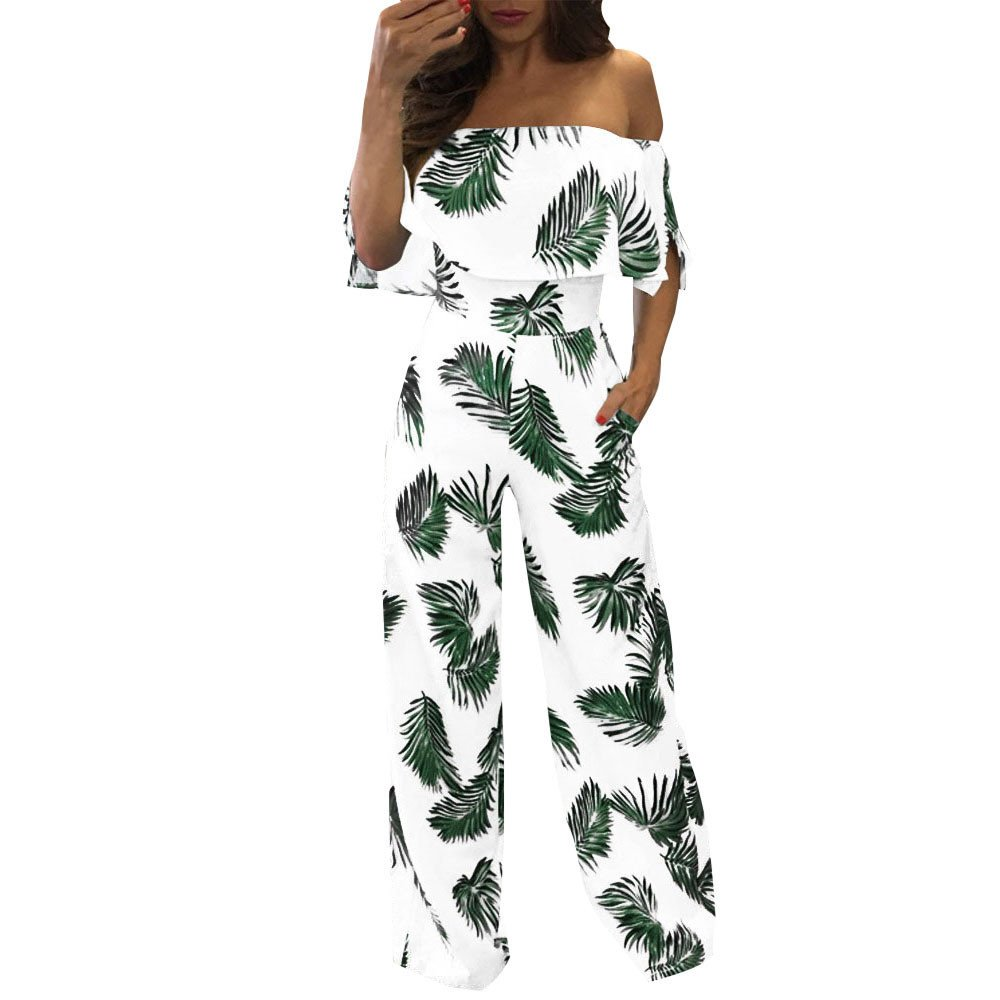 WEUIE Clearance Sale Women Casual Off Shoulder Floral Leaf Printed Sparkly Capelet Loose Playsuit (S,Green) by WEUIE