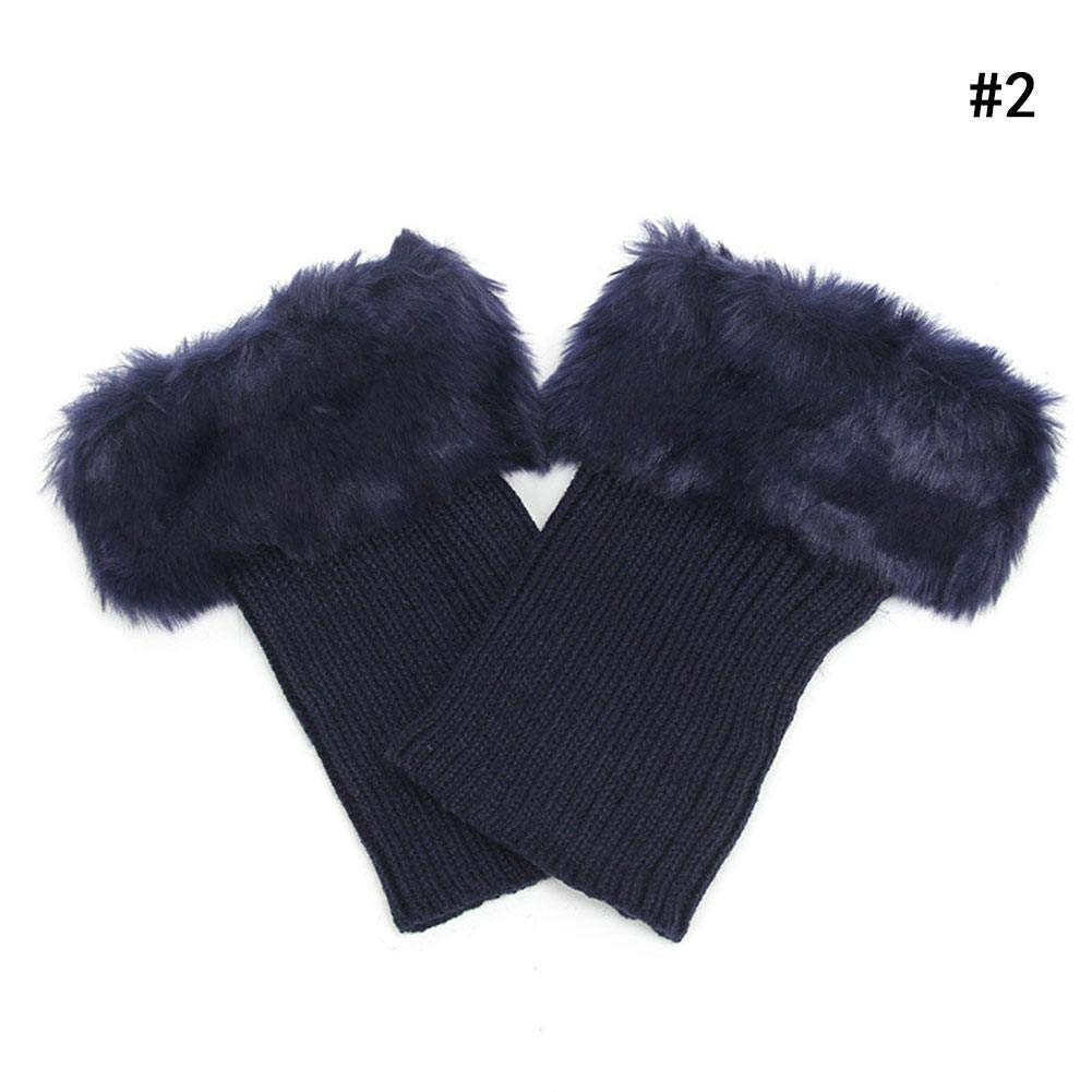 Women Winter Faux Fur Boot Cuffs Cover Crochet Knitting Short Leg Warmers