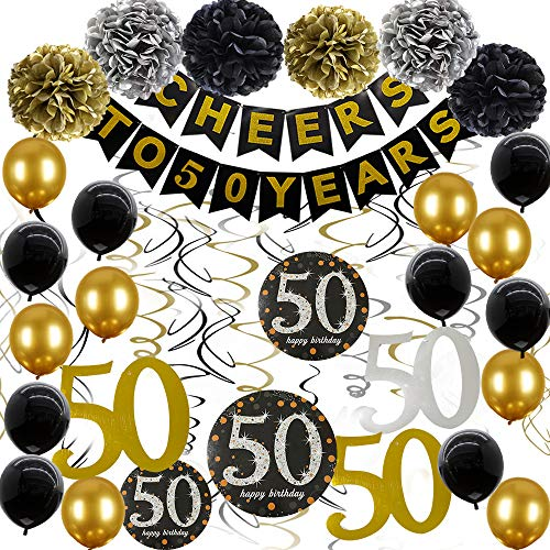 Decoration For 50 Birthday (50th Birthday Decorations Cheers to 50 Years Banner Black and Gold 50th Birthday Party Supplies With 50th Hanging Swirls Birthday Decorations Gifts for women)
