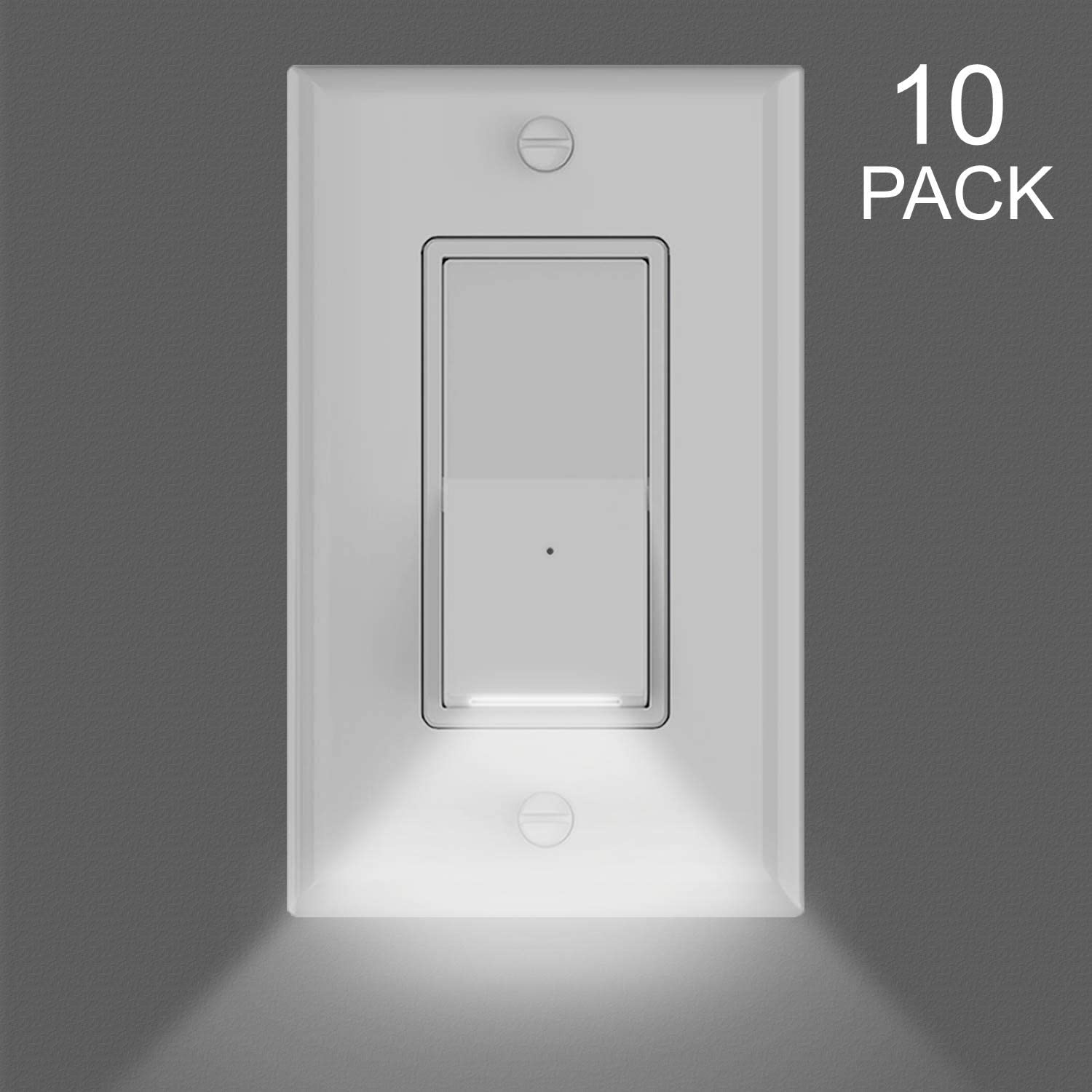 10Pack Child Safe Home Wall Decor Light Switch with LED Night Lights,Electrical Switch with Guidelight,Single Pole,3 Wire,120VAC,15A,On/Off Decorator Rocker Paddle Interrupter,Dayligh White LED
