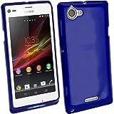 igadgitz Teñido Azul Case TPU Gel Funda Cover Carcasa para Sony Xperia L Android Smartphone + Protector de pantalla
