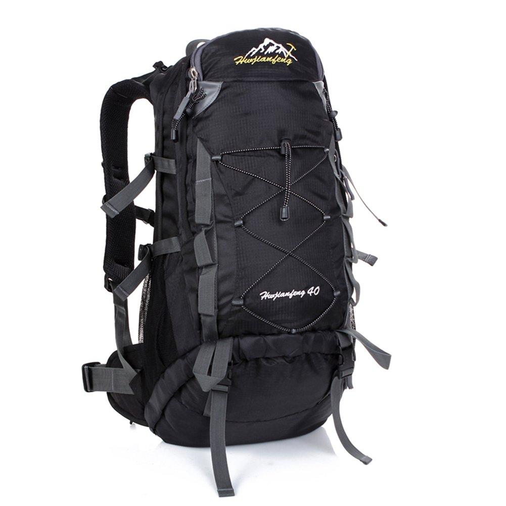 AHWZ 40L ハイキングバックパック スポーツバックパック 防水 通気性 多機能 レジャー キャンプ バックパック ベスト  ブラック B07HRYBR2S