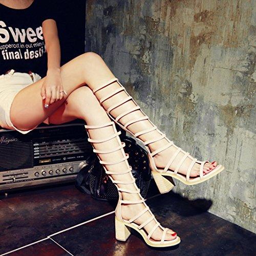 aprikosen Sandalias hochhackigen grandes con Cilindro grueso larga botas refrigeración correa Barrel Guantes botas femenina las poco FZFdrfx