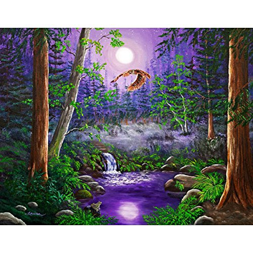 Horned Owl Flying California Redwoods Landscape Bird Wall