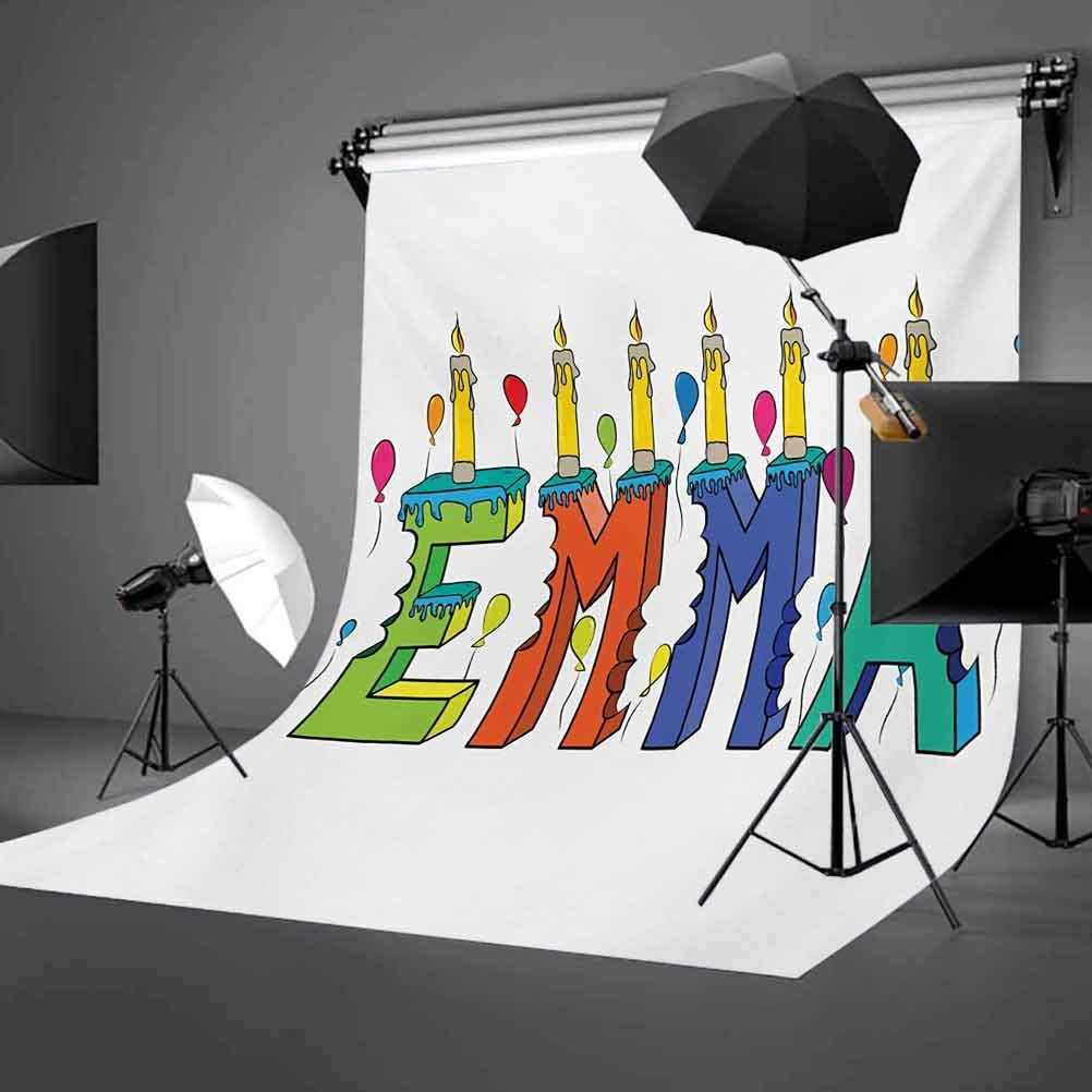 6.5x10 FT Photo Backdrops,Popular Female First Name Design with Many Colors Candles Balloons Birthday Theme Background for Baby Shower Birthday Wedding Bridal Shower Party Decoration Photo Studio