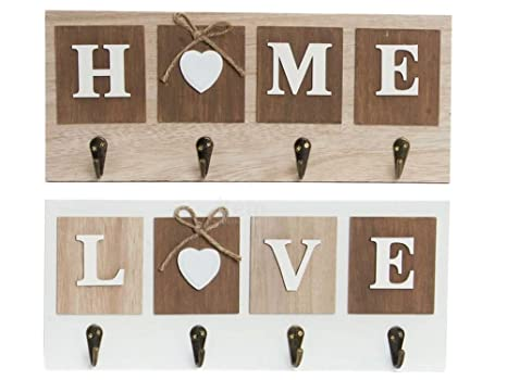 Dcasa - Set 2 Perchero Pared 4 Colgador Madera Home & Love ...