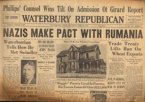 WATERBURY REPUBLICAN 4/20 1940 Nazis Make Pact With Rumania