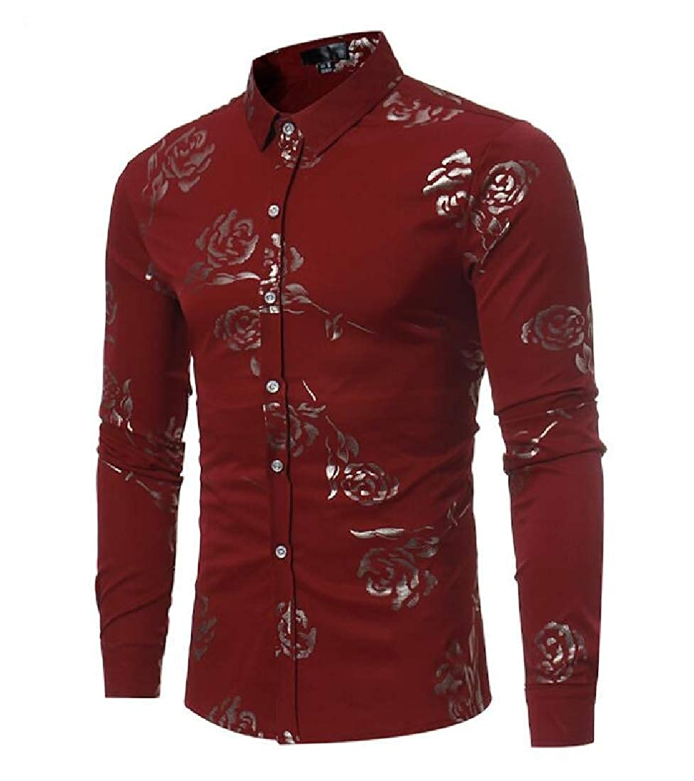 pipigo Mens Business Lapel Neck Slim Fit Floral Print Long Sleeve Button Down Shirts