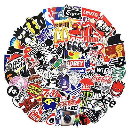 100 Pcs Fashion Brand Stickers for Laptop Stickers Motorcycle Bicycle Skateboard Luggage Decal Graffiti Patches Stickers for [No-Duplicate Sticker Pack] (logo)