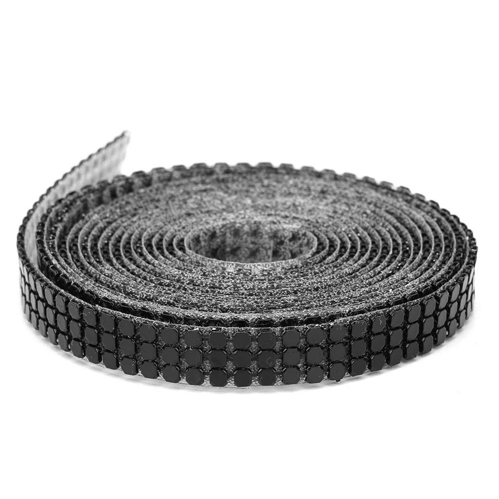 Mootea 1.5m 3 Rows Hotfix Aluminum Mesh Rhinestones Ribbon Sewing Strass Trim Clothing Accessories 1cm 3Rows-Black