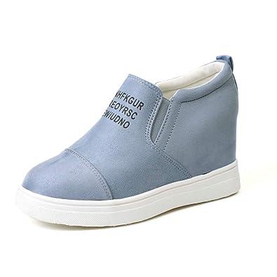 16e8a09bb30b7 Miuko Plateau Sneaker Damen Leder Keilabsatz Hohe 7 cm Absatz Slip On  Wildleder Loafers Wedges Ankle Boots Casual Bequeme Schwarz Grau Rosa Blau  Khaki ...