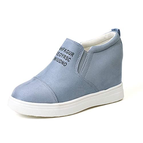 Zapatillas Deportivas De Mujer Cuña Ante Piel Altas Plataforma 7 CM Tacon Sneakers Planos Zapatos Mocasines Comodas Negro Gris Rosa Azul Caqui 35-43: ...
