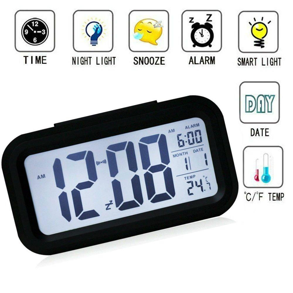 Sveglia Digitale,Sveglia Elettronica Sveglia Orologio Digitale da comodino con Snooze Allarme Grande LCD Schermo Sensore di Luce Segnalazione di Ora, Data e Temperatura JS501 TKSTAR