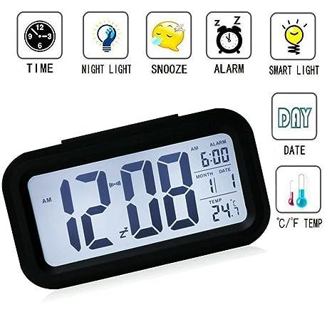 Reloj despertador digital con gran pantalla de alta definición, inteligente. Luz velada, para niños, adolescentes, jóvenes.