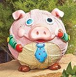 Whimsical Winking Pig Garden Statue Yard Art