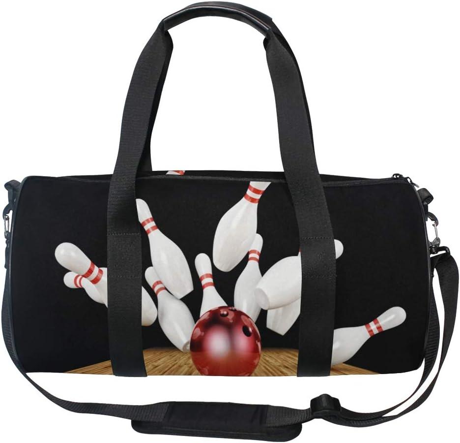 Gym Bag Bowling Night Women Canvas Duffel Bag Cute Sports Bag for Girls