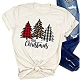 SurBepo Merry Christmas Tree Print T-Shirt Women Leopard Plaid Printed Casual Short Sleeve Tee Tops Blouse