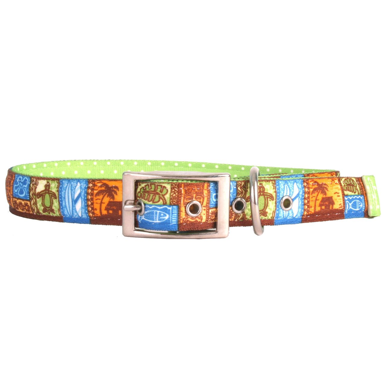 Yellow Dog Design Tiki Print Uptown Dog Collar-Size Medium-1 inch Wide and fits Neck Sizes 15 to 18.5 inches