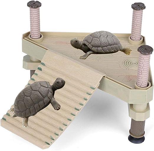 HEEPDD Plataforma Flotante de Reptiles, Plataforma Tomar el Sol de la Rana Tortuga con Escalera de Rampa Terrario Tanque Accesorio Mascotas Pequeñas Baño al Sol Juego Descanso: Amazon.es: Productos para mascotas