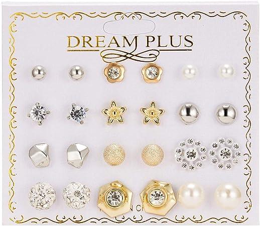 12 Paires Strass Boucles doreilles Griffe Femmes Stud Boucles doreilles Clip Oreille Pin Set Cadeau de Vacances Bijoux Filles