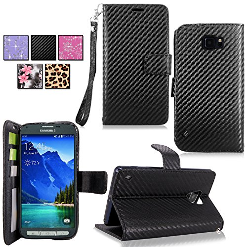 e - Cellularvilla Pu Leather Wallet Flip Open Pocket ID Card Holder Slots Case Pouch Cover Fold Stand with Wrist Strap for Samsung Galaxy S6 Active SM-G890 (Carbon_Fiber_Black) (F-style Handset)