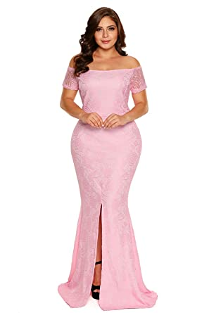 0e22ce47c14 Foryingni Women s Plus Size Off Shoulder Front Slit Lace Evening Formal  Maxi Dress  Amazon.co.uk  Clothing