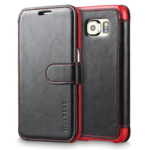 Galaxy S6 Edge Case Wallet,Mulbess [Layered Dandy][Vintage Series][Black] - [Ultra Slim][Wallet Case] - Leather Flip Cover With Credit Card Slot for Samsung Galaxy S6 Edge (Accented Front Flap)