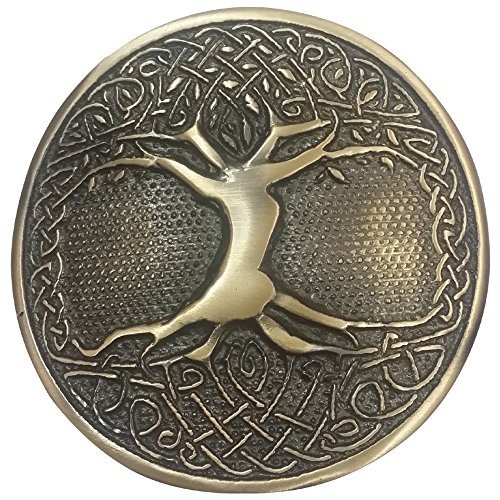 AAR Tree Celtic Round Kilt Belt Buckle Antique/Chrome Finish/Belt Buckles (Antique)