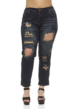 1a0a25428a7 V.I.P.JEANS Women's Plus Size Dark Blue Denim, Distressed with Patches,  Slim Fit Skinny Jeans at Amazon Women's Jeans store