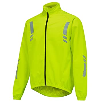 OpenRoad Men s cycling jacket windproof splash proof thermal high visibility  reflective yellow b042ccfc3