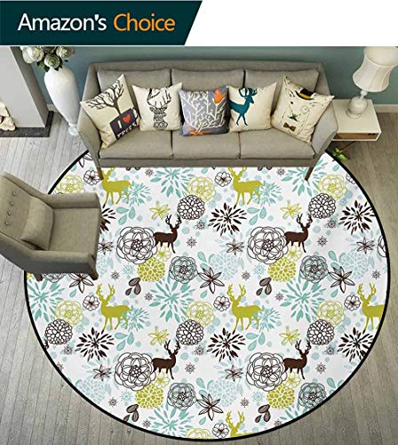RUGSMAT Washable Creative Modern Round Rug,National Flower of Lesotho South of Africa Aloe Polyphylla Spinning Spiral Aloe Vera,Coffee Table Mat Non-Skid Living Room Carpet Round-35 Inch Multicolor